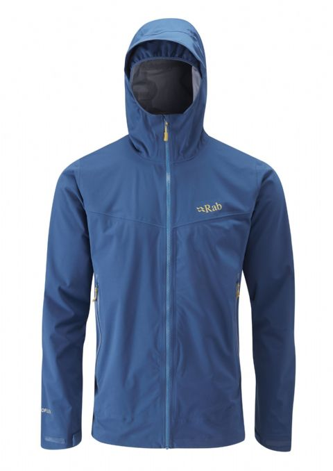 Rab Mens Kinetic Plus Jacket - Lightweight Stretch Waterproof Softshell - Ink
